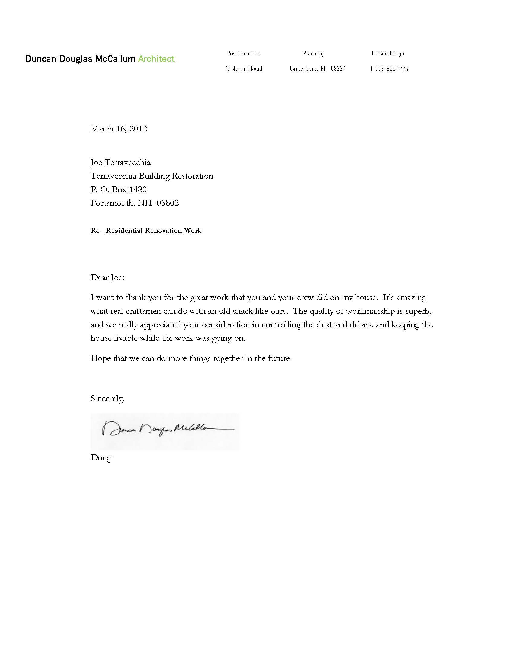 Testimonial from Duncan Douglas McCallum, Architect